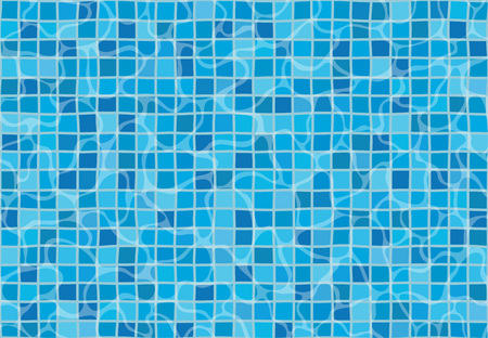Swimming pool with mosaic tiles. Overhead view. Texture of water surface. Seamless pattern. Illustration