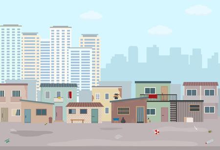 Oude verwoeste huizen en moderne stad. Contrast van moderne gebouwen en arme sloppenwijken.