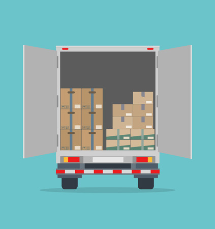 Open delivery truck with cardboard boxes. Isolated on blue background. Transport services, logistics and freight of goods. Иллюстрация