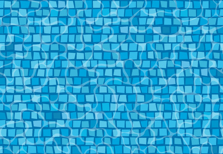 Swimming pool with mosaic tiles. Overhead view. Texture of water surface.
