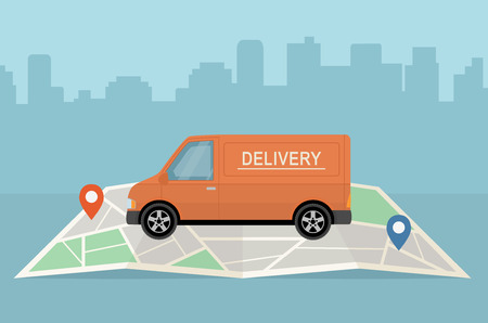 Delivery van and map on city background.