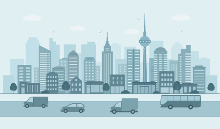 Modern urban landscape. City life illustration with road details, road and other urban details.