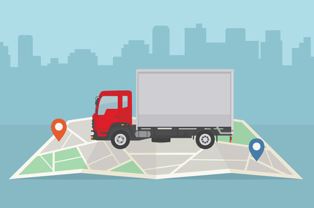 Delivery truck and map on city background. Transport services, logistics and freight of goods concept. Illustration