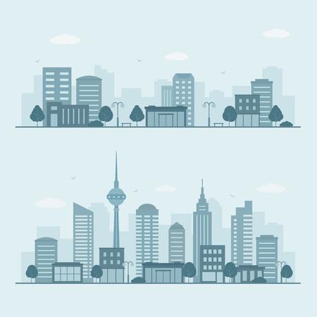 Modern urban landscape. City life illustration. Illustration