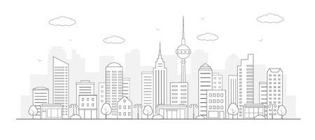 Modern urban landscape. City life illustration. Line art.
