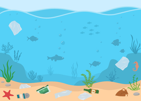 Water pollution. Ecology problems concept. Panoramic seascape. Illustration