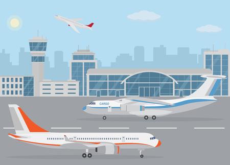 Flughafengebäude und Flugzeuge auf der Landebahn. Konzept des Luftverkehrs. Vektorgrafik