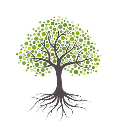 Abstract tree with green leaves. Isolated on white background. Illustration