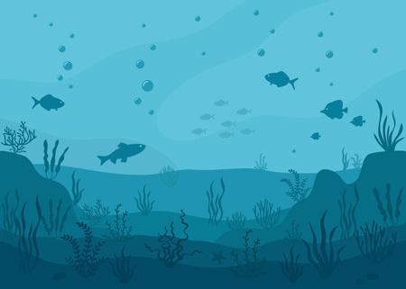 Sea underwater background. Marine sea bottom with underwater plants, corals and fish. Panoramic seascape. Foto de archivo - 122587360