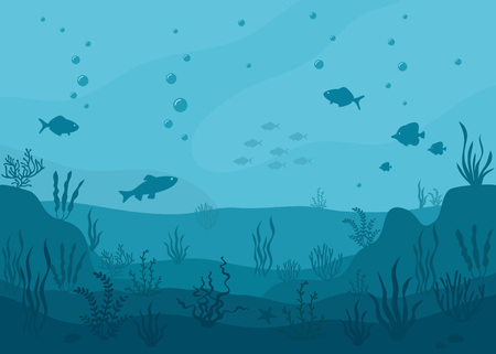 Sea underwater background. Marine sea bottom with underwater plants, corals and fish. Panoramic seascape.