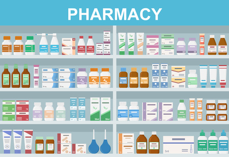 Pharmacy shelves with medicines. Concept of pharmaceutics and medication.