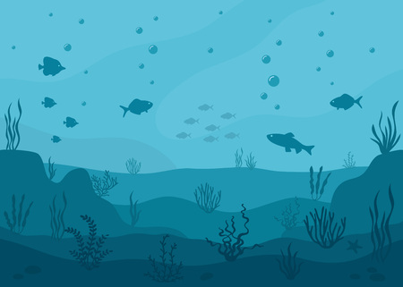 Sea underwater background. Marine sea bottom with underwater plants, corals and fish. Panoramic seascape. Foto de archivo - 122587362