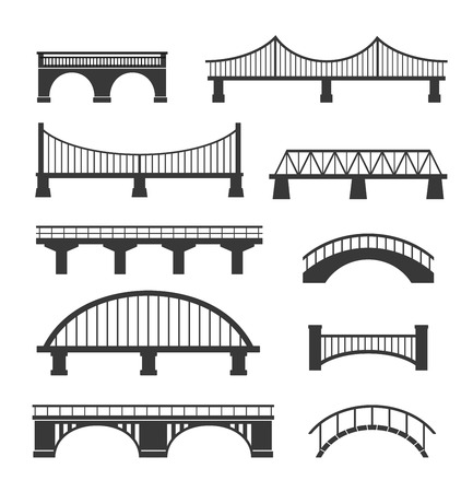 Set of different bridges. Isolated on white background. Black and white. Foto de archivo - 122587361