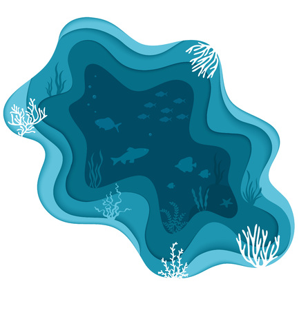 Marine sea bottom with underwater plants, corals and fish. Sea underwater background. Paper art style.