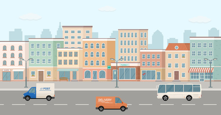 City life illustration with road details. 3d panoramic view.