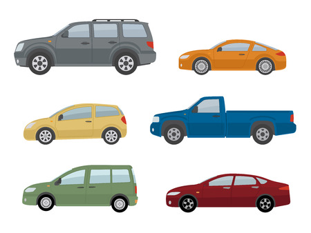 Collection of different cars. Isolated on white background. Side view.