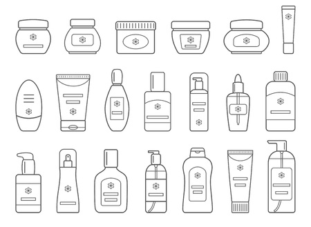Set of different cosmetic products. Isolated on white background. Outline collection icons for web design.