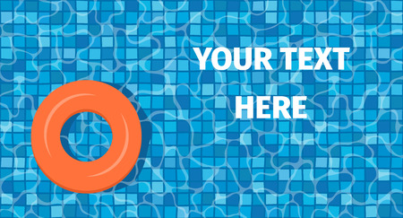 Swim ring with mosaic tiles and orange swim ring. Overhead view. Summer vacation or trip concept.