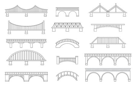 Set of different bridges. Isolated on white background. Black and white. Line art. Vector illustration.  イラスト・ベクター素材