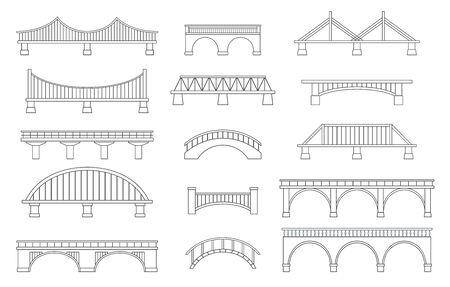 Set of different bridges. Isolated on white background. Black and white. Line art. Vector illustration. Illustration