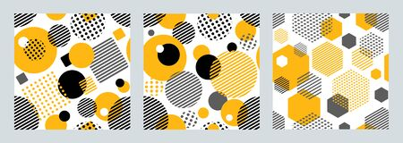 Three geometric hexagons stripes and dots. Patterns for fashion and wallpaper. Vector illustration.  イラスト・ベクター素材