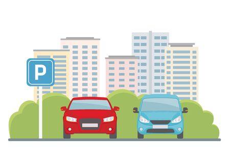 Estacionamiento con dos autos en el fondo de la ciudad. Estilo plano, ilustración vectorial. Ilustración de vector