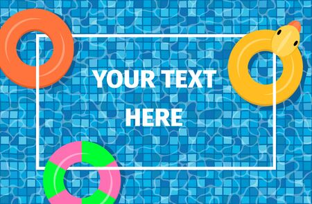 Swimming pool with mosaic tiles and swim rings. Overhead view. Frame for text. Summer vacation or trip concept. Vector illustration.