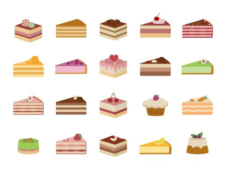 Set of sweet yummy cakes. Isolated on white background. Flat style, vector illustration.
