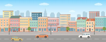 City life illustration with road details. 3d panoramic view. Vector illustration.  イラスト・ベクター素材