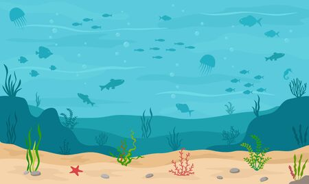 Sea underwater background. Marine sea bottom with underwater plants, corals and fishs. Panoramic seascape. Vector illustration.  イラスト・ベクター素材