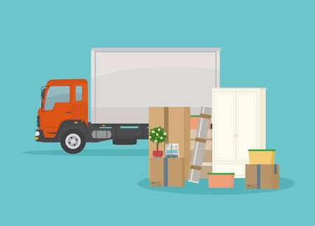 Moving into new House. Delivery truck, furnitures and cardboard boxes. Isolated on blue background. Transport services and freight of goods. Flat style, vector illustration.  イラスト・ベクター素材