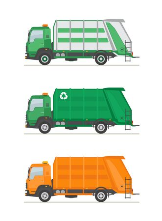 Three garbage trucks isolated on white background. Garbage utilization equipment. Ecology and recycle concept. Flat style vector illustration.