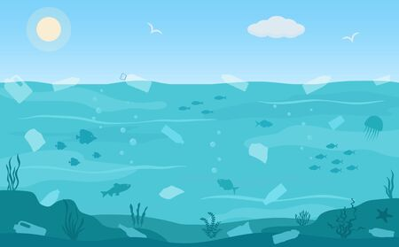 Water pollution. Ecology problems concept. Panoramic seascape. Flat style, vector illustration.