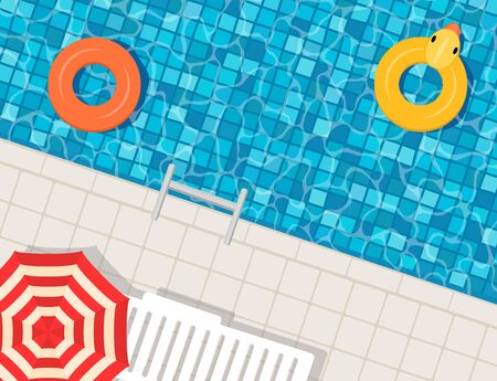 Swimming pool with swimming rings, umbrella and deck chair. Top view. Summer vacation or trip concept. Vector illustration.