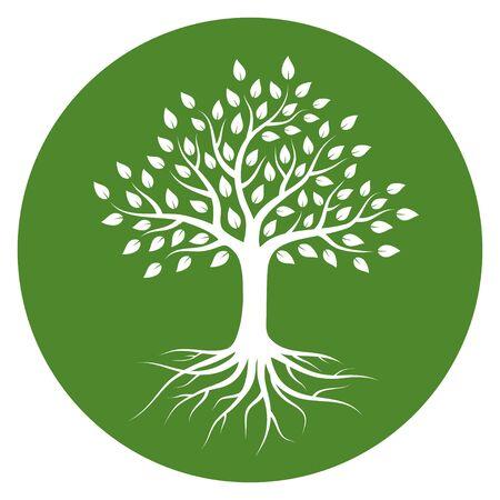 Silueta de un árbol con raíces y hojas en círculo. Color blanco sobre fondo verde. Logotipo de ilustración vectorial.