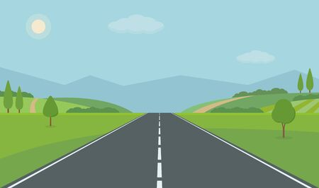 Straight road through the countryside. Green hills, blue sky, meadow and mountains. Summer landscape vector illustration.