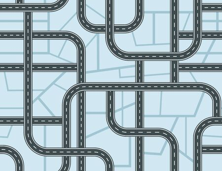 Highways seamless pattern. A lot of roads with crossroads and junctions on blue map background. Top view. Vector illustration  イラスト・ベクター素材