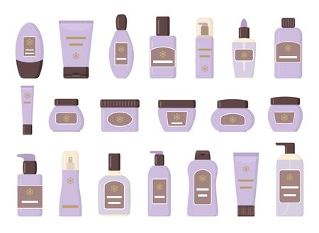 Set of different cosmetic products. Isolated on white background. Sollection icons for web design. Flat vector illustration.