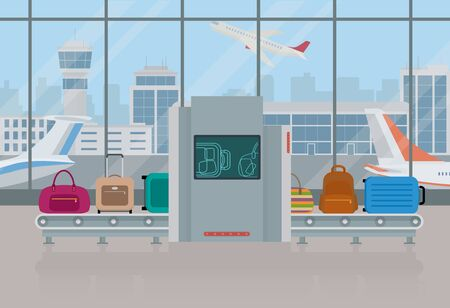 Airport baggage security scanner. Bags and suitcases on baggage conveyor. Vector illustration.