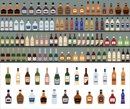 Alcoholic Drinks Bottles Large Vector Set. Supermarket shelves with alcohol bottles. Seamless pattern.  イラスト・ベクター素材