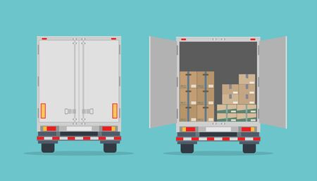 Open truck and cardboard boxes. Isolated on blue background. Back view. Transport services, logistics and freight of goods. Flat style, vector illustration. Foto de archivo - 127906656
