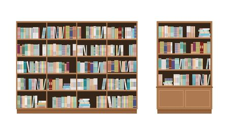 Two bookcases full of books. Isolated on white background. Education library and bookstore concept. Vector illustration.  イラスト・ベクター素材