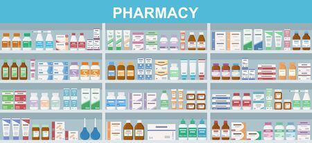 Pharmacy shelves with medicines. Concept of pharmaceutics and medication. Flat style vector illustration.