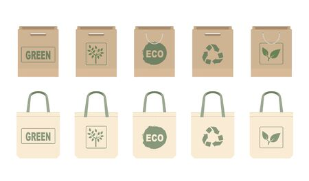 Collection different fabric cloth or paper bags. Isolated on white background. Bags with ECO and recycling symbols. Replacement plastic bags. Flat vector illustration.