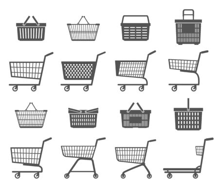 Set of shopping trolleys and shopping baskets. Isolated on white background. Black and white. Vector illustration. Illustration