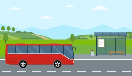 Rural landscape with road, bus stop and moving bus. Green hills, blue sky, meadow and mountains. Flat style vector illustration.