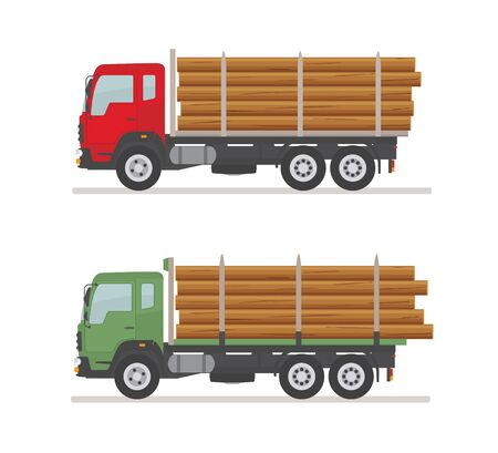 Two logging trucks on the road. Isolated on white background. Wood production and forestry. Vector illustration. Ilustração