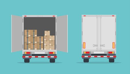 Open truck and cardboard boxes. Isolated on blue background. Back view. Transport services, logistics and freight of goods. Flat style, vector illustration.