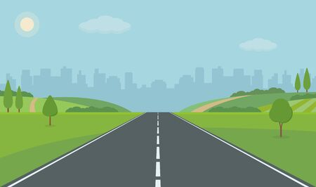 Road to City. Straight empty road through the meadow. Summer landscape vector illustration. Foto de archivo - 127906735
