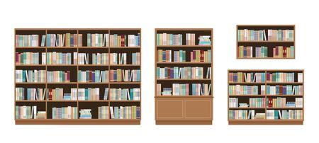 Bücherregale und Bücherregale voller Bücher. Isoliert auf weißem Hintergrund. Bildungsbibliothek und Buchhandlungskonzept. Vektor-Illustration.
